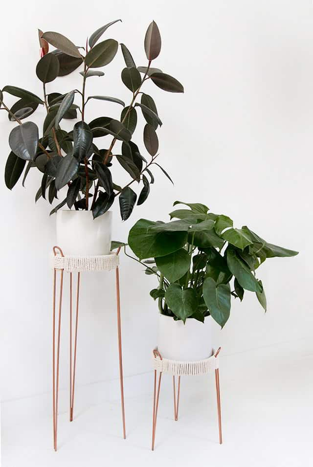 DIY Rope And Copper DIY Plant Stand Ideas