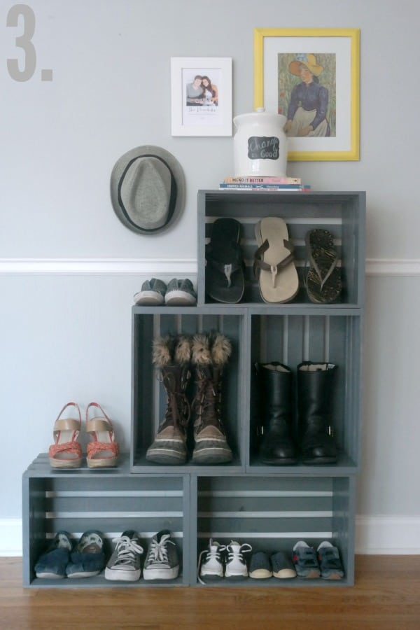 DIY Shoe Rack Made Out Of Crates