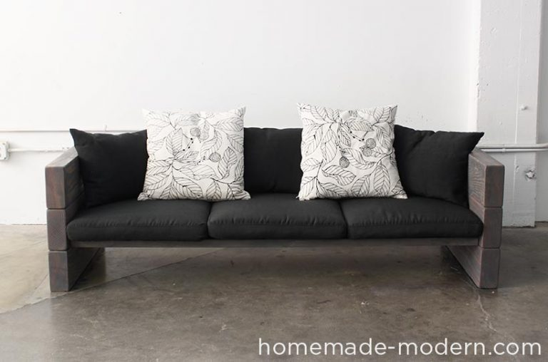 DIY Stacked Wood Plank Couch