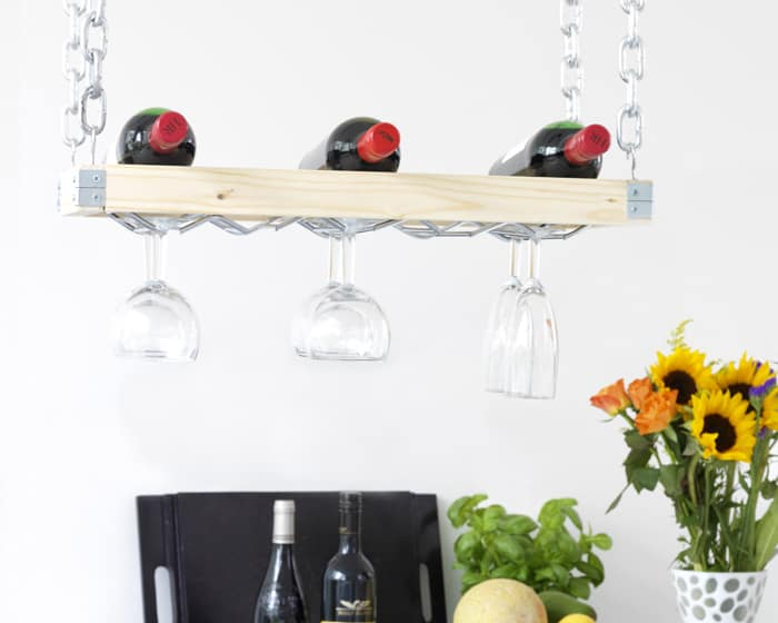 DIY Stylish Hanging Wine Rack