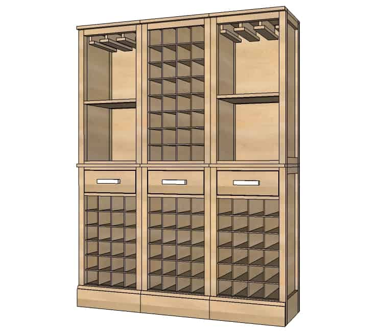 Modular Bar Wine Grid Hutch