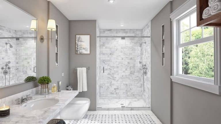 DIY White Pearl Shower Wall Panels
