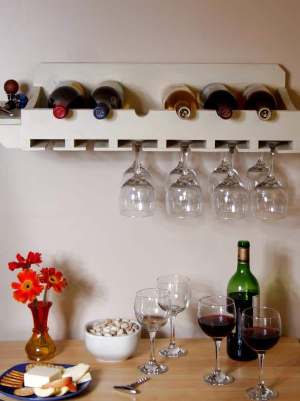 DIY Wine Bottle and Glasses Rack