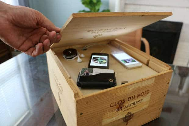 DIY charging station from a wine crate