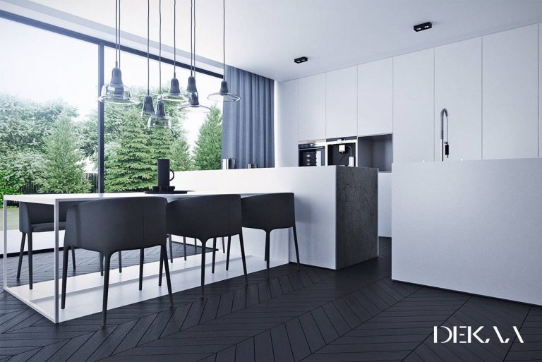 Dark Wood Floor in White Kitchen Designs