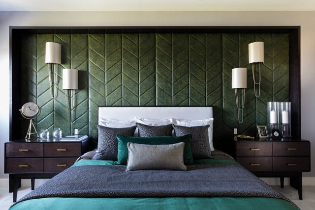 Deep Green Art Deco Bedroom
