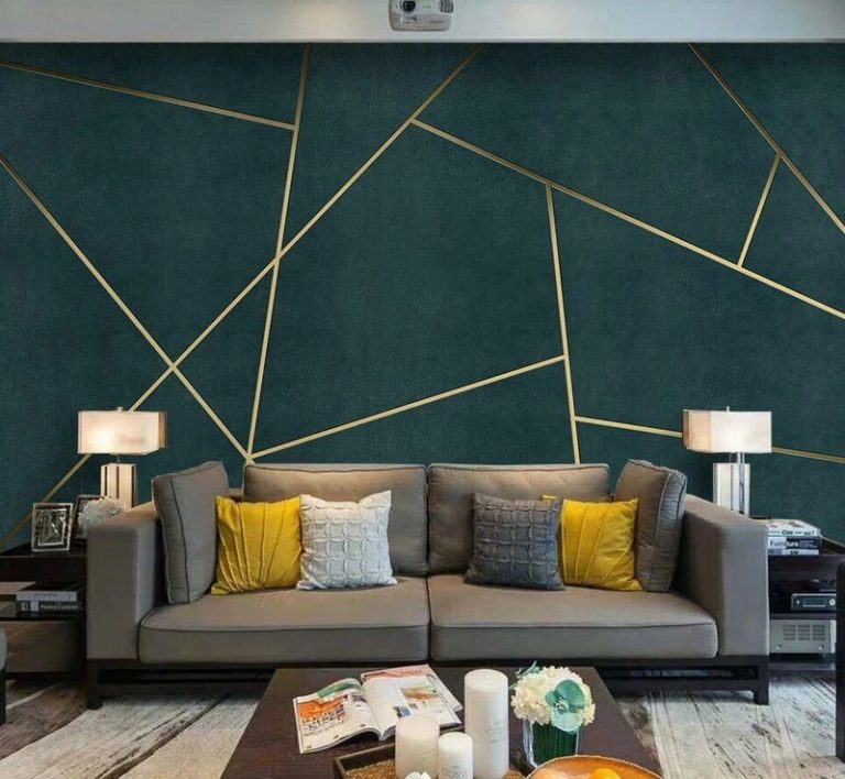Deep Green Geometric Wall Paint