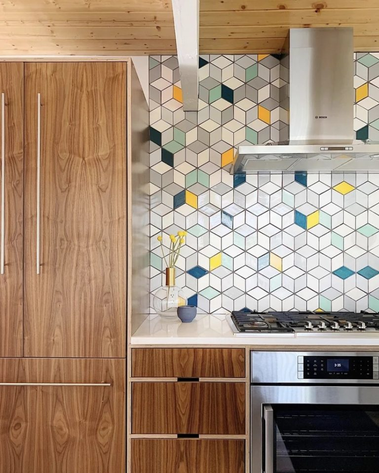 Diamond-Shaped Tiles Mid Century Modern Kitchen