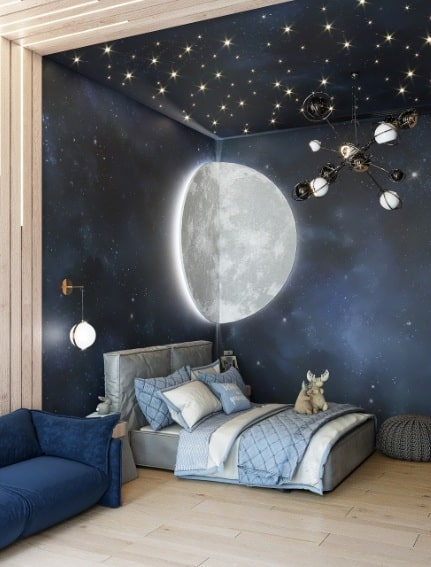 Elegant Space Themed Bedroom