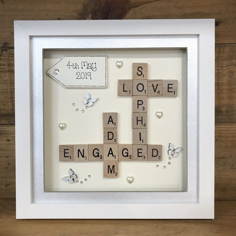 Engagement Shadow Box with Scrabble Letters