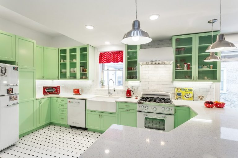 Fancy Green Mid Century Modern Kitchen