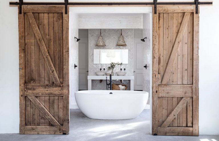 Farmhouse Bathroom With Barn Door