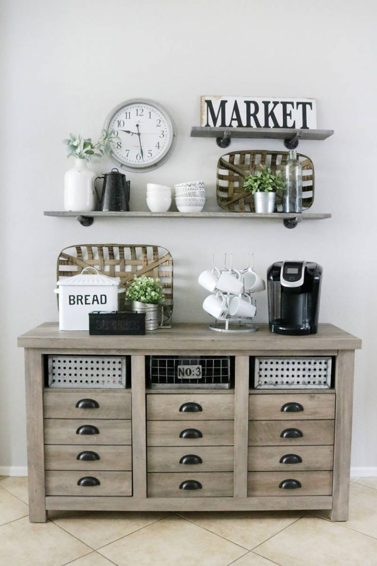 Farmhouse Inspired Coffee Bar Station