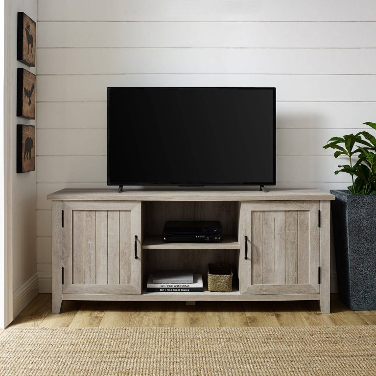DIY Farmhouse White Oak TV Stand with Beadboard Doors