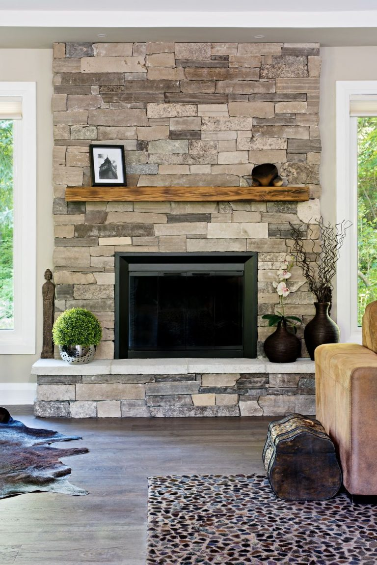 Faux Stone Fireplace Tiles and the Floating Shelf