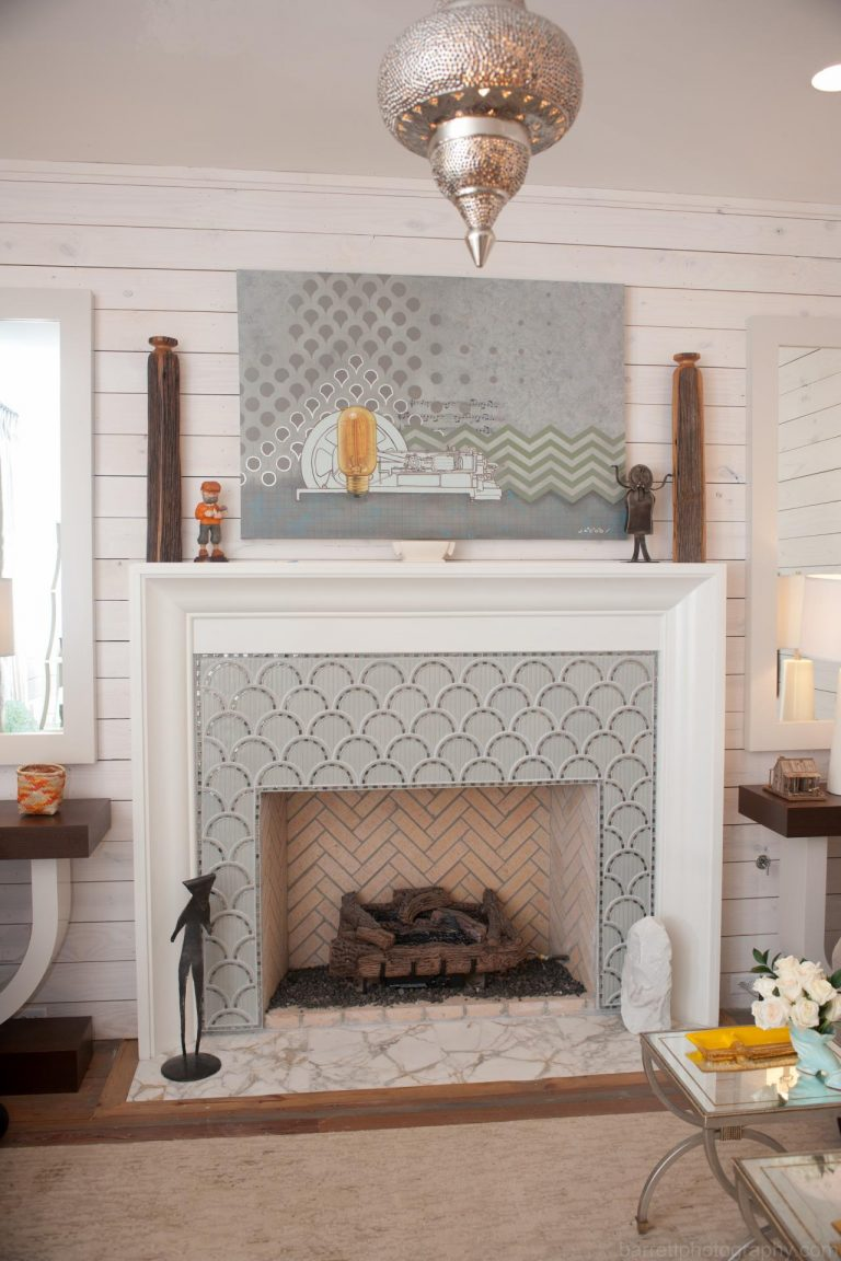 Fireplace Tiles with the Pale Gray attern