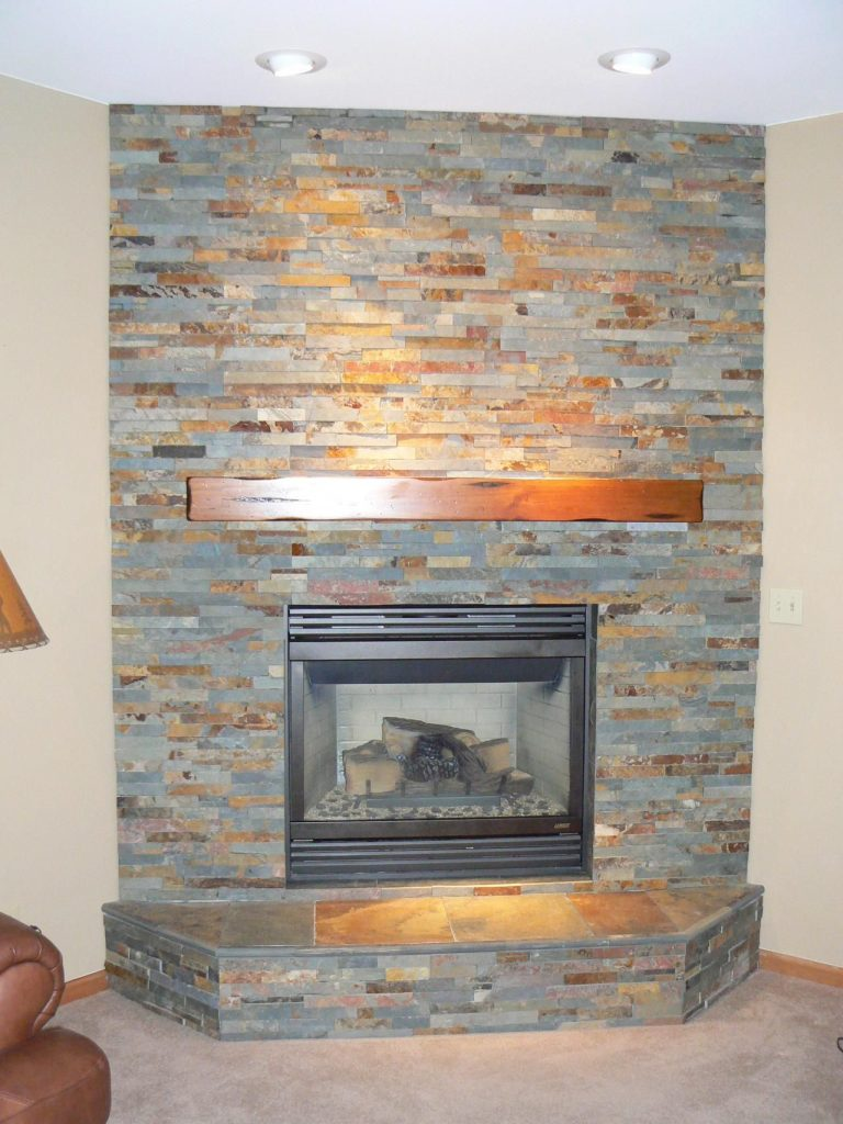 Casual Fireplace with Slate Tile Surround