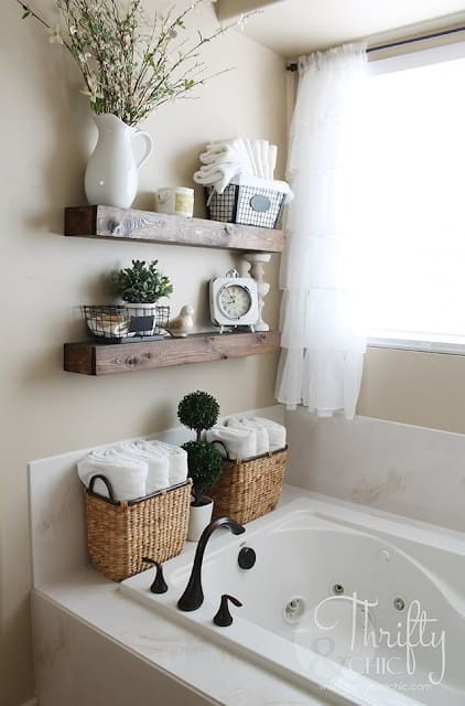 Floating Shelves Farmhouse Bathroom Decor Ideas