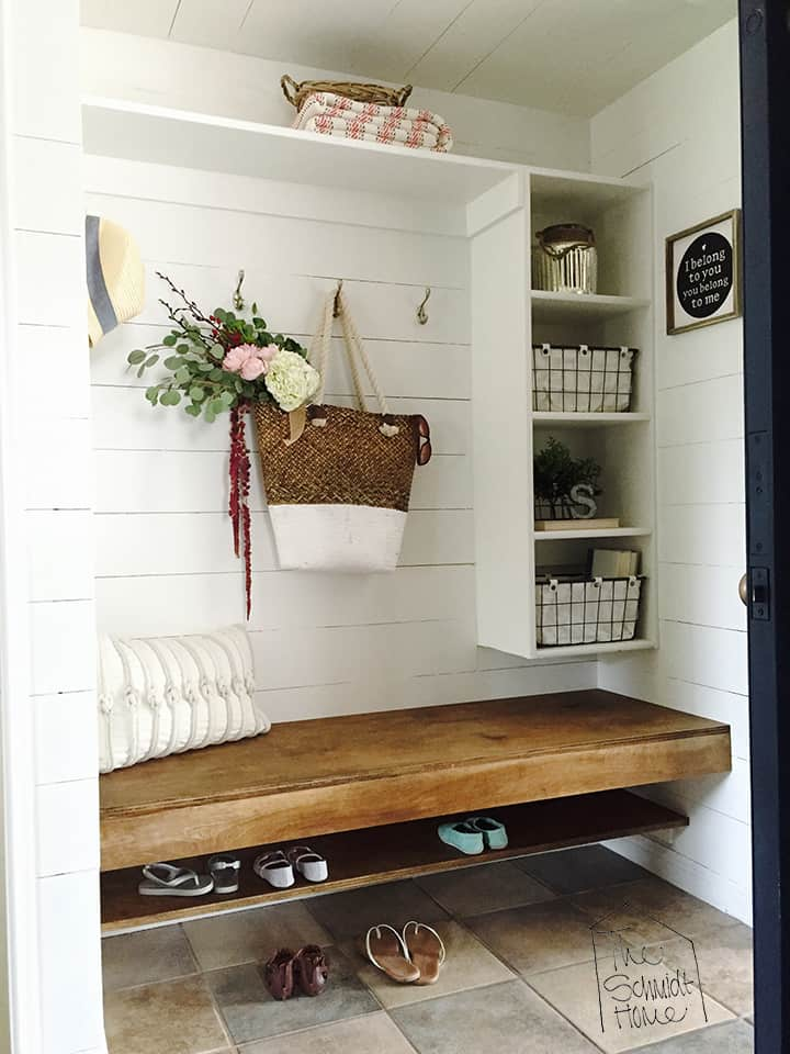 Floating Shoe Rack Under the Bench