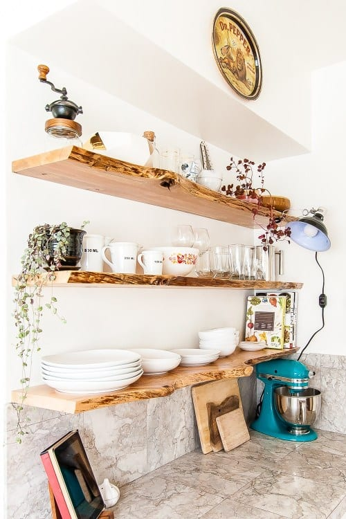 Floating Wood Open Kitchen Shelving