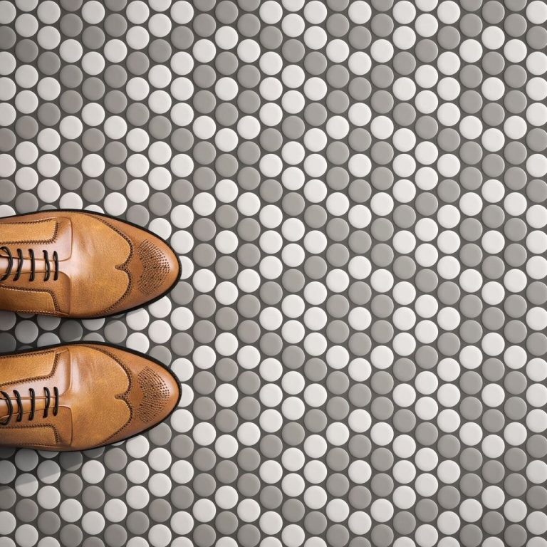 Geometric Penny Tile Flooring