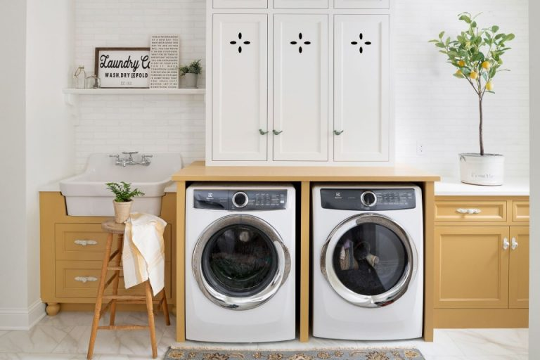 Golden Touch on White Laundry Room Paint Colors