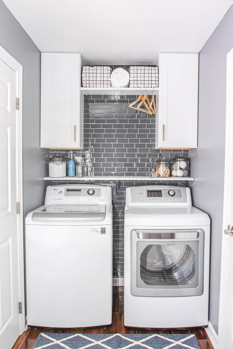Gray Tiles Laundry Room