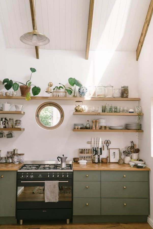 Green Kitchen Cabinet And Counter Wood