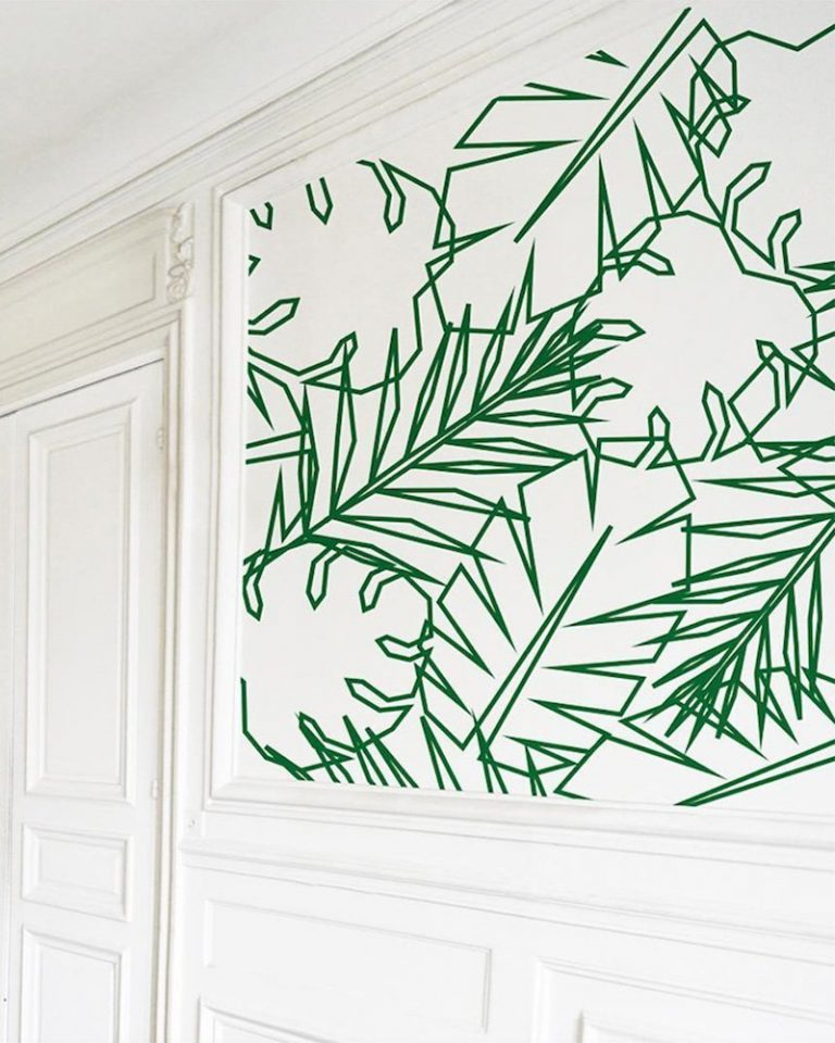 Green Leaves Geometric Wall Paint