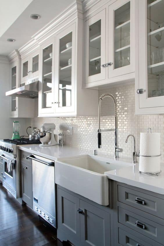 Grey And White Kitchen Cabinet