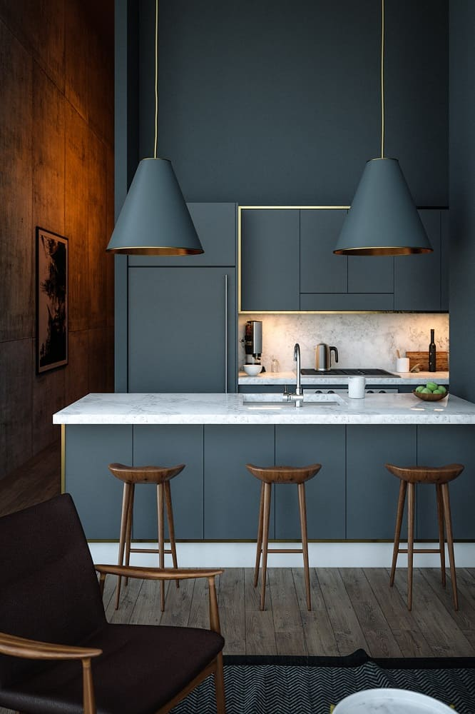 Grey Kitchen Cabinet For Apartment