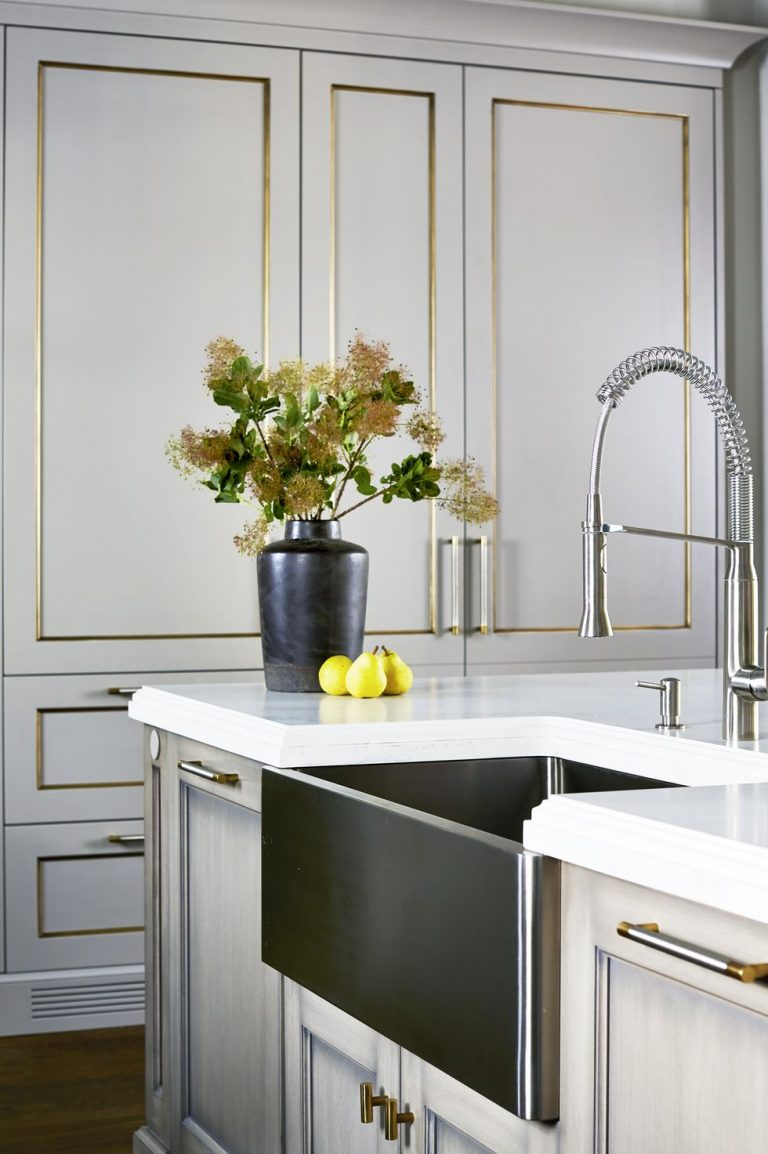 Grey Kitchen Cabinet With Brass Lining