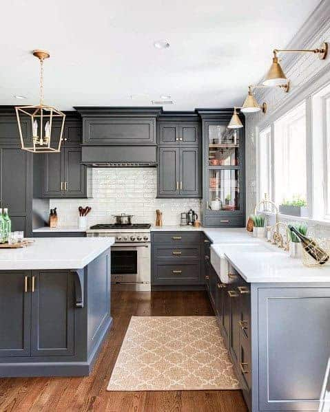 Grey Kitchen Cabinet With White Countertop