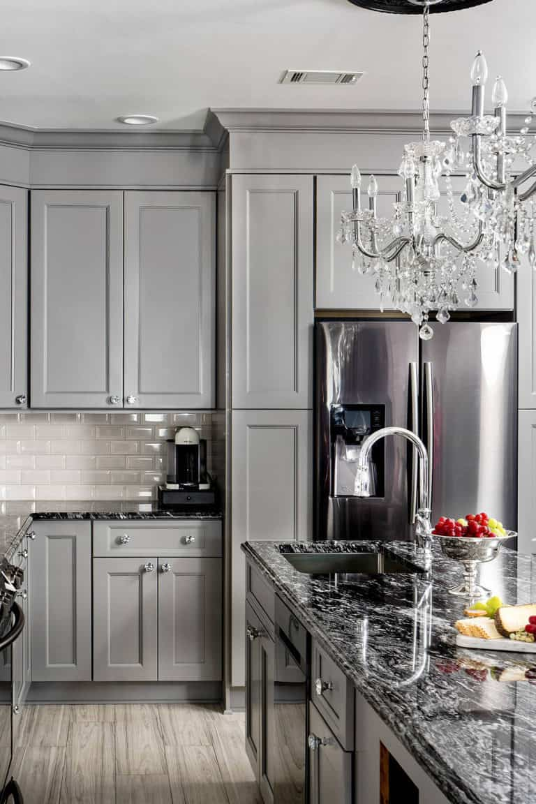 Grey Kitchen Cabinet with Black Countertop