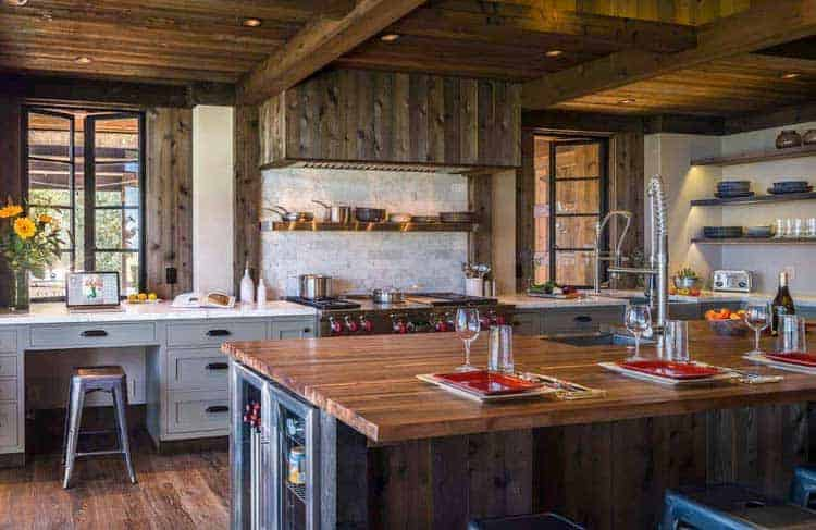 Grey Rustic Kitchen Cabinet and White Countertops