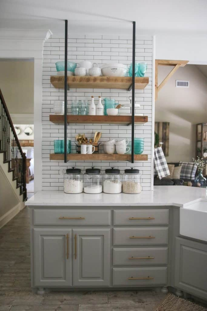 Hanging Rustic Open Kitchen Shelving