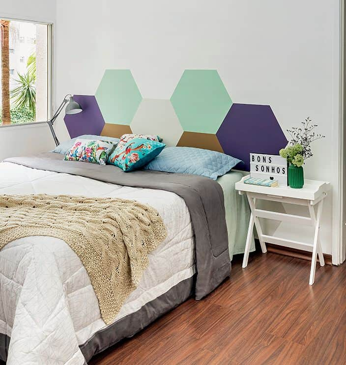 Honeycomb Headboard Geometric Wall Paint