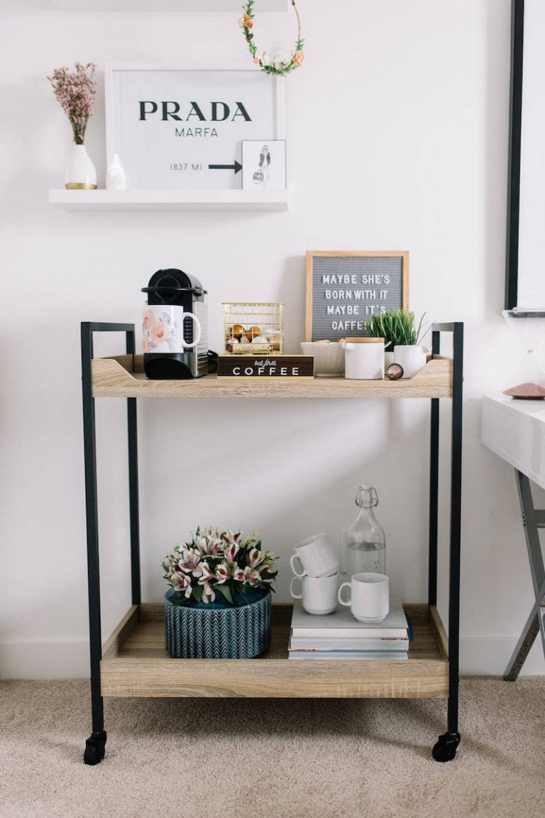 Simple Industrial Coffee Bar Cart