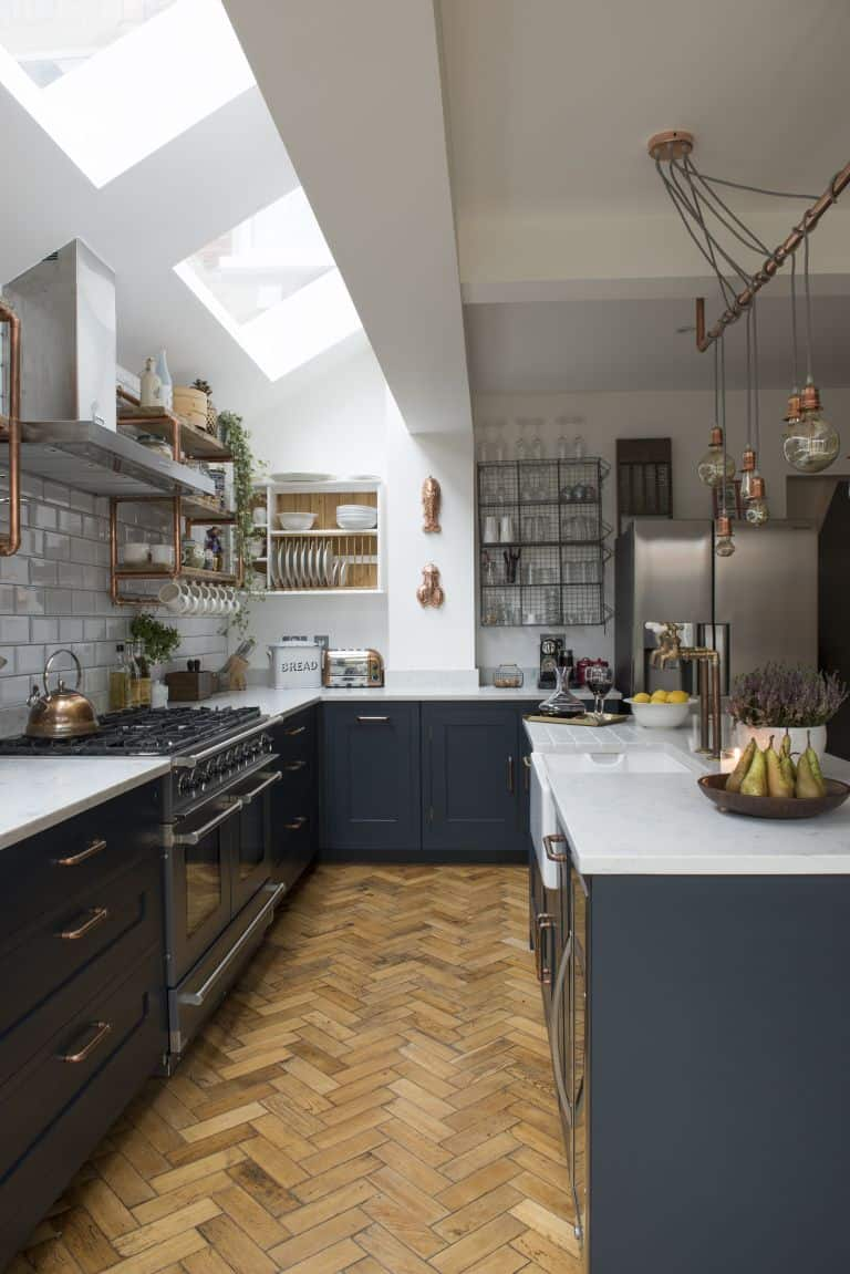 Industrial Kitchen Ideas With Copper Shelving