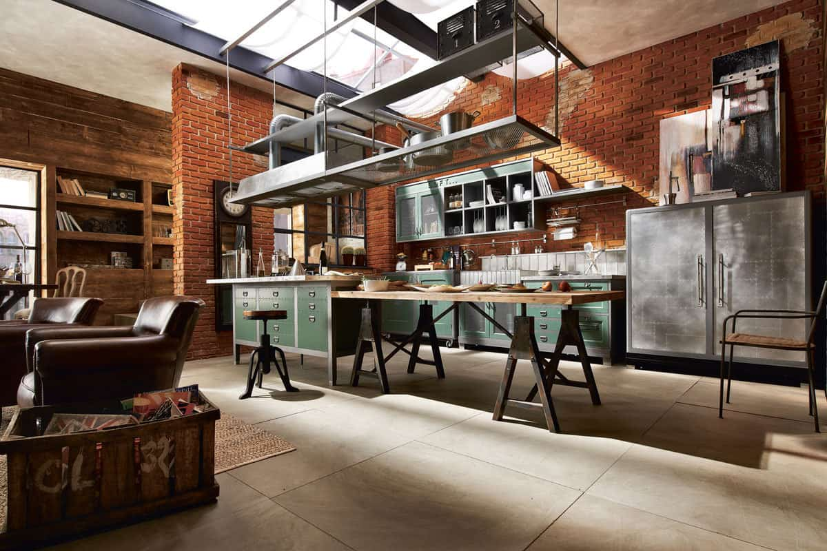 Industrial Kitchen Ideas With Hanging Shelf