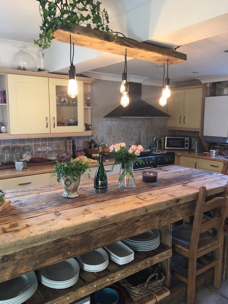 Industrial Kitchen Ideas With Scaffolding Boards Island