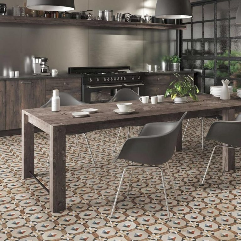 Industrial Kitchen Ideas With Patterned Floor