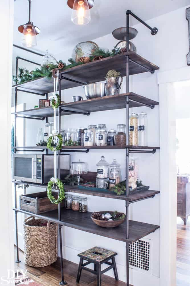 Industrial Pipe Shelving for Pantry