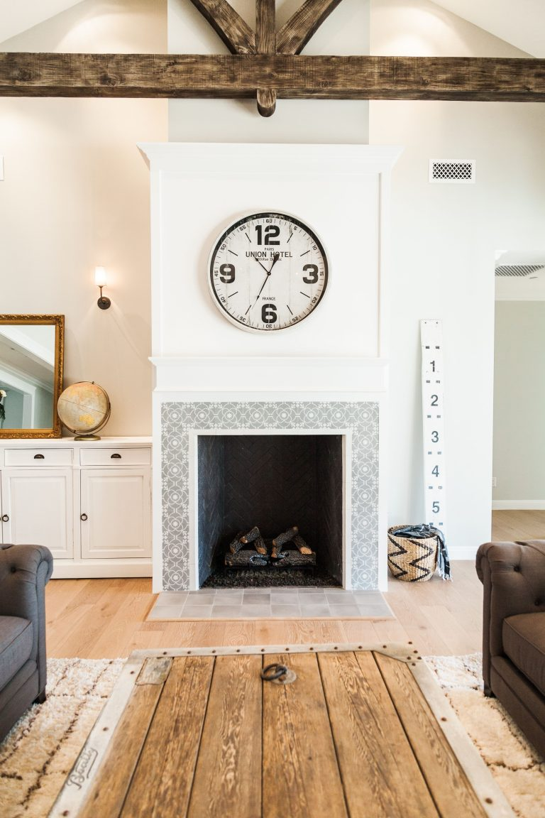 Interior Farmhouse Fireplace with Cement Tiles