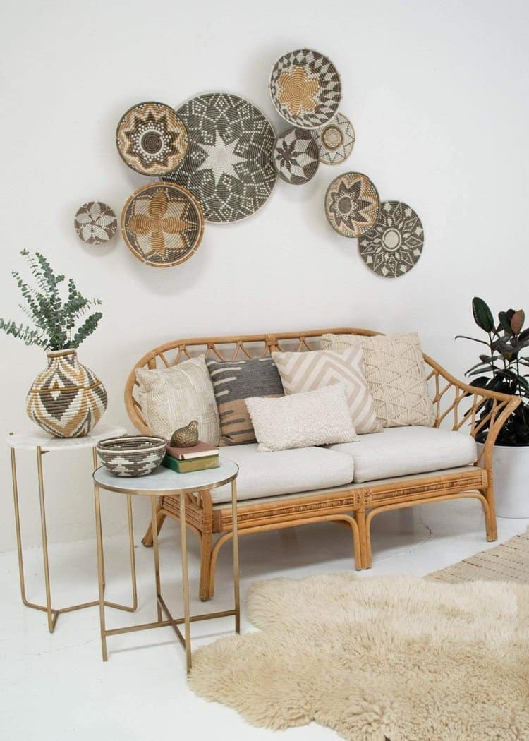 Large Patterned Taupe Wall Baskets