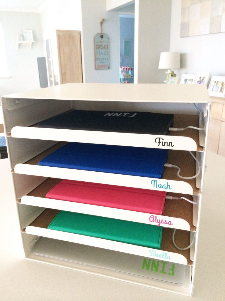 DIY Letter Tray Charging Station