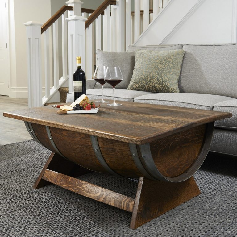 Fancy Lift-Top Wine Barrel Coffee Table