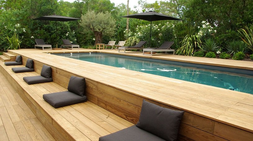 Long Above Ground Pool With Deck Ideas
