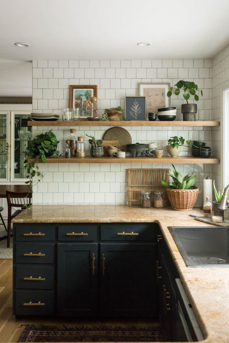 Long Open Kitchen Shelving