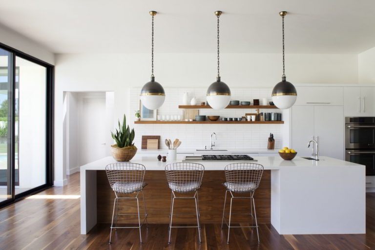Mid Century Modern Kitchen With Pendant Lights